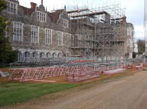 Scaffolding on the south front