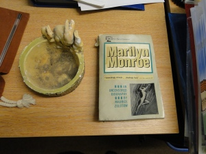 A rabbity ashtray and a biography of Marilyn Monroe